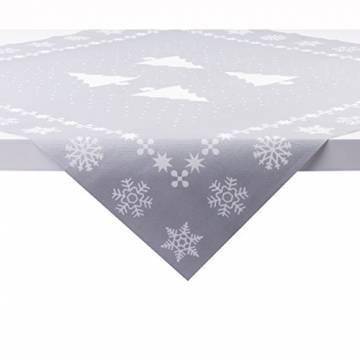 Sovie Home Tischdecke White Tree in Silber | Linclass® Airlaid | Weihnachten Tannenbaum Tischtuch Mitteldecke | 80x80 cm - 1
