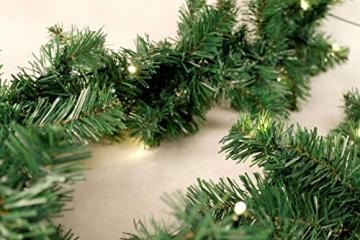 Spetebo Weihnachtsgirlande mit 35 warmweißen LEDs - 270 cm/Batterie und Timer - Tannengirlande Girlande Innen und Außen - 2