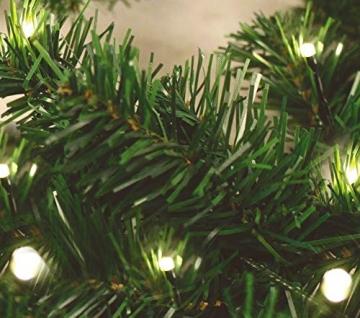 Spetebo Weihnachtsgirlande mit 35 warmweißen LEDs - 270 cm/Batterie und Timer - Tannengirlande Girlande Innen und Außen - 3