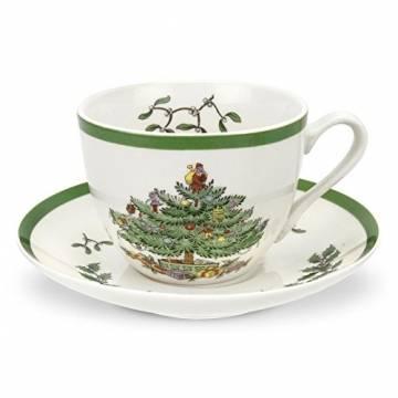 Spode-Tee-Tasse und Untertasse, Keramik, Mehrfarbig, 4Stück - 1