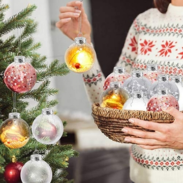 Sporgo Klar Weihnachtskugeln,16 Stück Durchsichtige Kunststoffkugeln DIY Weihnachtskugeln Deko Baumschmuck Hängender Kugel Befüllbare,Transparent Weihnachtsbaum Dekoration für Weihnachten Party - 2