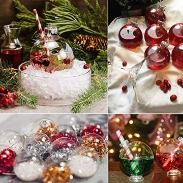 Sporgo Klar Weihnachtskugeln,16 Stück Durchsichtige Kunststoffkugeln DIY Weihnachtskugeln Deko Baumschmuck Hängender Kugel Befüllbare,Transparent Weihnachtsbaum Dekoration für Weihnachten Party - 3