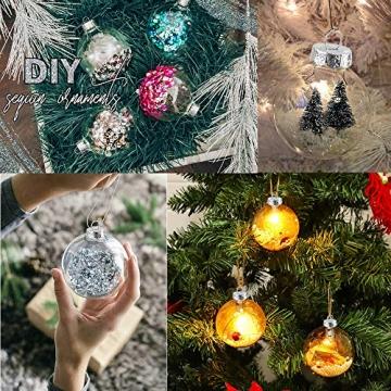 Sporgo Klar Weihnachtskugeln,16 Stück Durchsichtige Kunststoffkugeln DIY Weihnachtskugeln Deko Baumschmuck Hängender Kugel Befüllbare,Transparent Weihnachtsbaum Dekoration für Weihnachten Party - 4