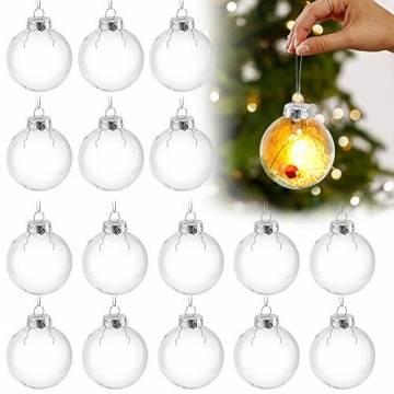 Sporgo Klar Weihnachtskugeln,16 Stück Durchsichtige Kunststoffkugeln DIY Weihnachtskugeln Deko Baumschmuck Hängender Kugel Befüllbare,Transparent Weihnachtsbaum Dekoration für Weihnachten Party - 1
