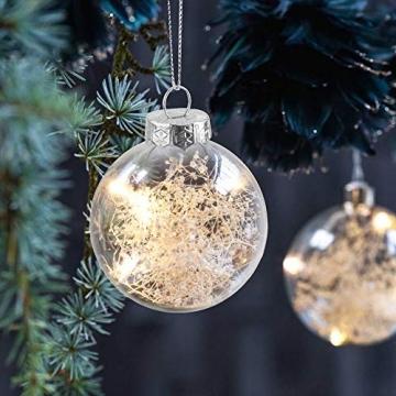 Sporgo Klar Weihnachtskugeln,16 Stück Durchsichtige Kunststoffkugeln DIY Weihnachtskugeln Deko Baumschmuck Hängender Kugel Befüllbare,Transparent Weihnachtsbaum Dekoration für Weihnachten Party - 6