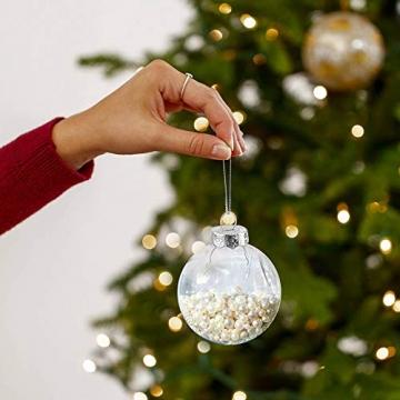 Sporgo Klar Weihnachtskugeln,16 Stück Durchsichtige Kunststoffkugeln DIY Weihnachtskugeln Deko Baumschmuck Hängender Kugel Befüllbare,Transparent Weihnachtsbaum Dekoration für Weihnachten Party - 7