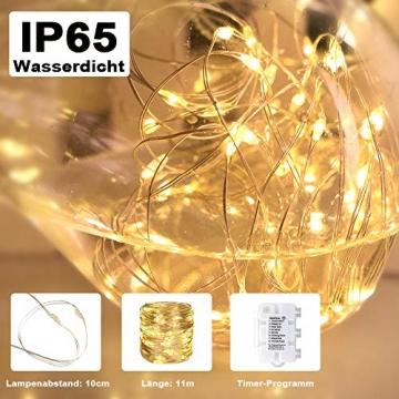 Starker 2Stk 5M 50er LED Silberdraht Lichterkette,Fernbedienung 8 Modi IP65 Wasserdicht Lichterketten,TIMER Batterie Lichterkette,für Hochzeiten und Partys,Weihnachten-Warmweiß - 2