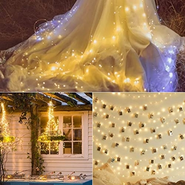 Starker 2Stk 5M 50er LED Silberdraht Lichterkette,Fernbedienung 8 Modi IP65 Wasserdicht Lichterketten,TIMER Batterie Lichterkette,für Hochzeiten und Partys,Weihnachten-Warmweiß - 4