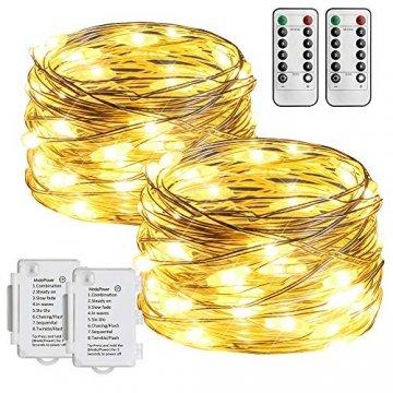 Starker 2Stk 5M 50er LED Silberdraht Lichterkette,Fernbedienung 8 Modi IP65 Wasserdicht Lichterketten,TIMER Batterie Lichterkette,für Hochzeiten und Partys,Weihnachten-Warmweiß - 1