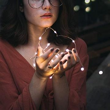 Starker 2Stk 5M 50er LED Silberdraht Lichterkette,Fernbedienung 8 Modi IP65 Wasserdicht Lichterketten,TIMER Batterie Lichterkette,für Hochzeiten und Partys,Weihnachten-Warmweiß - 5