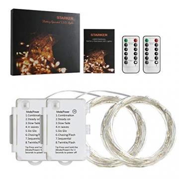 Starker 2Stk 5M 50er LED Silberdraht Lichterkette,Fernbedienung 8 Modi IP65 Wasserdicht Lichterketten,TIMER Batterie Lichterkette,für Hochzeiten und Partys,Weihnachten-Warmweiß - 7