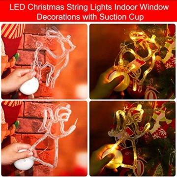 Sunshine smile LED Vorhang Licht, LED Fensterlicht Saugnapf,Kabelbeleuchtung,Fensterlichter,lichtervorhang Fenster led,Lichterkette,Lichtervorhang Lichter Weihnachtsbeleuchtung(6 Pcs) - 5