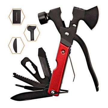 Survival Kit, Messer and Axt, Multifunktionswerkzeug 18-in-1 Multitoolaus Edelstahl Tragbar Hammer Jagdzubehör für Camping, Wandern, Notfall, Geschenke für Mann - 1