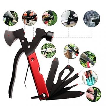 Survival Kit, Messer and Axt, Multifunktionswerkzeug 18-in-1 Multitoolaus Edelstahl Tragbar Hammer Jagdzubehör für Camping, Wandern, Notfall, Geschenke für Mann - 5