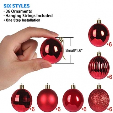 Taeku Weihnachtskugeln Baumschmuck 36 Stück Weihnachtsbaumschmuck Set Kunststoff Weihnachtskugeln Ornamente Christbaumkugeln bis Ø 4 cm (Rot) - 2