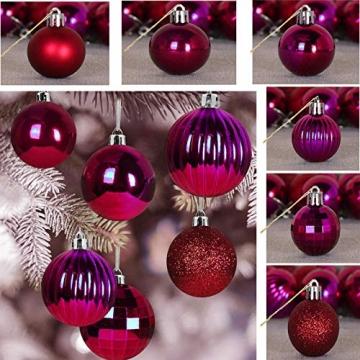 Taeku Weihnachtskugeln Baumschmuck 36 Stück Weihnachtsbaumschmuck Set Kunststoff Weihnachtskugeln Ornamente Christbaumkugeln bis Ø 4 cm (Rot) - 3