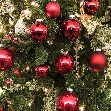 Taeku Weihnachtskugeln Baumschmuck 36 Stück Weihnachtsbaumschmuck Set Kunststoff Weihnachtskugeln Ornamente Christbaumkugeln bis Ø 4 cm (Rot) - 4