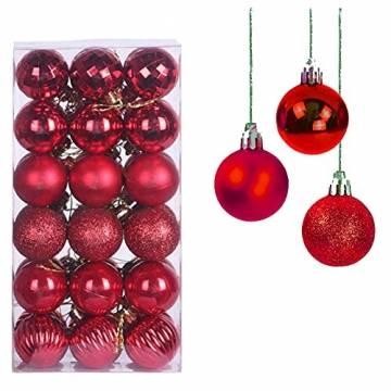 Taeku Weihnachtskugeln Baumschmuck 36 Stück Weihnachtsbaumschmuck Set Kunststoff Weihnachtskugeln Ornamente Christbaumkugeln bis Ø 4 cm (Rot) - 1