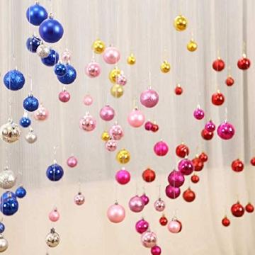 Taeku Weihnachtskugeln Baumschmuck 36 Stück Weihnachtsbaumschmuck Set Kunststoff Weihnachtskugeln Ornamente Christbaumkugeln bis Ø 4 cm (Rot) - 5