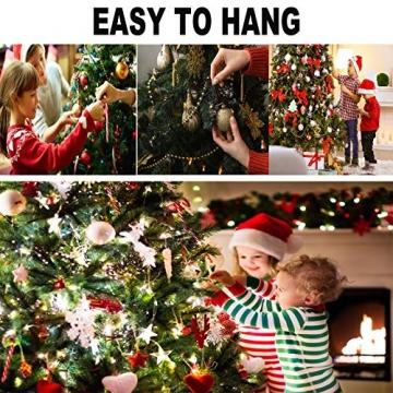 Taeku Weihnachtskugeln Baumschmuck 36 Stück Weihnachtsbaumschmuck Set Kunststoff Weihnachtskugeln Ornamente Christbaumkugeln bis Ø 4 cm (Rot) - 6