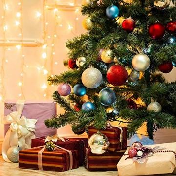 Taeku Weihnachtskugeln Baumschmuck 36 Stück Weihnachtsbaumschmuck Set Kunststoff Weihnachtskugeln Ornamente Christbaumkugeln bis Ø 4 cm (Rot) - 7