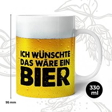 Tasse mit Bier Spruch für Männer Ich wünschte das wäre ein Bier Lustig Kaffee-Tasse Geschenk-Idee für Ihn Vatertagsgeschenk Vatertag Herrentag Fototasse - 3