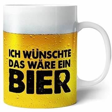 Tasse mit Bier Spruch für Männer Ich wünschte das wäre ein Bier Lustig Kaffee-Tasse Geschenk-Idee für Ihn Vatertagsgeschenk Vatertag Herrentag Fototasse - 1