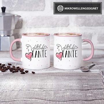 Tasse mit Spruch für die Weltbeste Tante - Kaffeetasse/Familie/Geschenk-Idee/Mug/Cup/Innen & Henkel Rosa - 2