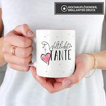 Tasse mit Spruch für die Weltbeste Tante - Kaffeetasse/Familie/Geschenk-Idee/Mug/Cup/Innen & Henkel Rosa - 3