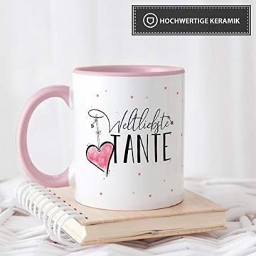 Tasse mit Spruch für die Weltbeste Tante - Kaffeetasse/Familie/Geschenk-Idee/Mug/Cup/Innen & Henkel Rosa - 4