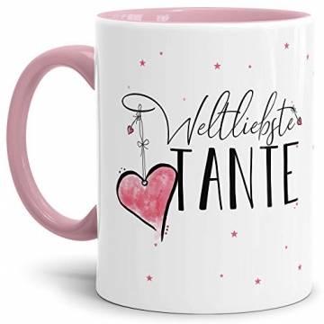 Tasse mit Spruch für die Weltbeste Tante - Kaffeetasse/Familie/Geschenk-Idee/Mug/Cup/Innen & Henkel Rosa - 1