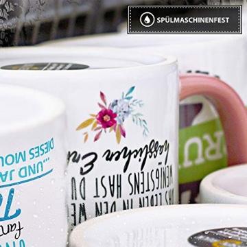 Tasse mit Spruch für die Weltbeste Tante - Kaffeetasse/Familie/Geschenk-Idee/Mug/Cup/Innen & Henkel Rosa - 5