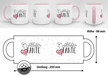 Tasse mit Spruch für die Weltbeste Tante - Kaffeetasse/Familie/Geschenk-Idee/Mug/Cup/Innen & Henkel Rosa - 6