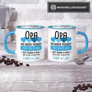 Tassendruck Geschenk Tasse mit Spruch PERSONALISIERT Opa von Enkelkindern - Kaffee-Tasse/Geschenkidee Geburtstag Vatertag/Vatertagsgeschenk - Innen & Henkel Hellblau - 2