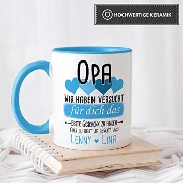 Tassendruck Geschenk Tasse mit Spruch PERSONALISIERT Opa von Enkelkindern - Kaffee-Tasse/Geschenkidee Geburtstag Vatertag/Vatertagsgeschenk - Innen & Henkel Hellblau - 4