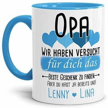 Tassendruck Geschenk Tasse mit Spruch PERSONALISIERT Opa von Enkelkindern - Kaffee-Tasse/Geschenkidee Geburtstag Vatertag/Vatertagsgeschenk - Innen & Henkel Hellblau - 1
