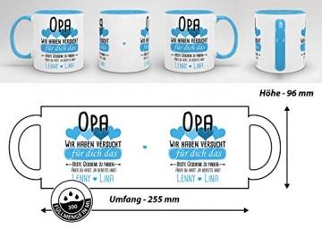 Tassendruck Geschenk Tasse mit Spruch PERSONALISIERT Opa von Enkelkindern - Kaffee-Tasse/Geschenkidee Geburtstag Vatertag/Vatertagsgeschenk - Innen & Henkel Hellblau - 6