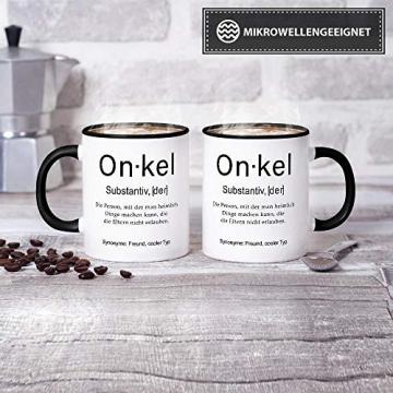 Tassendruck Tasse mit Definition Onkel - Wörterbuch/Geschenk-Idee/Dictionary/Beruf/Job/Arbeit/Familie/Innen & Henkel Schwarz - 2