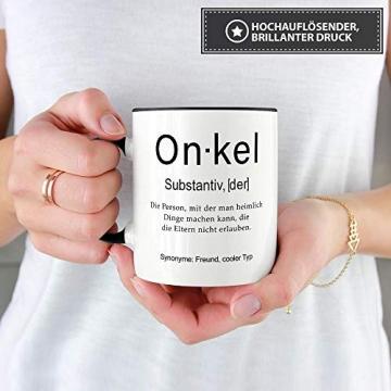 Tassendruck Tasse mit Definition Onkel - Wörterbuch/Geschenk-Idee/Dictionary/Beruf/Job/Arbeit/Familie/Innen & Henkel Schwarz - 3