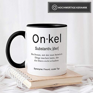 Tassendruck Tasse mit Definition Onkel - Wörterbuch/Geschenk-Idee/Dictionary/Beruf/Job/Arbeit/Familie/Innen & Henkel Schwarz - 4