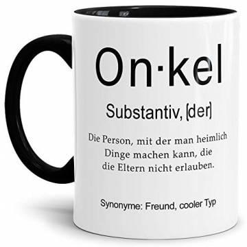 Tassendruck Tasse mit Definition Onkel - Wörterbuch/Geschenk-Idee/Dictionary/Beruf/Job/Arbeit/Familie/Innen & Henkel Schwarz - 1