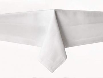 TextilDepot24 Damast Tischdecke weiß mit Atlaskante bei 95°C waschbar 130 x 250 cm 100% Baumwolle - 2