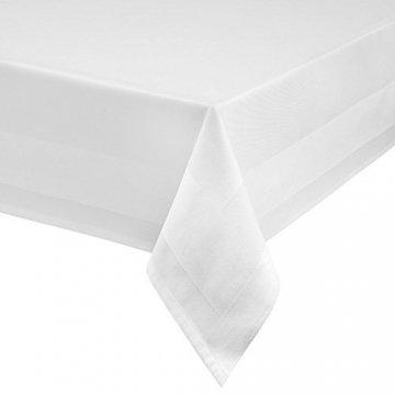 TextilDepot24 Damast Tischdecke weiß mit Atlaskante bei 95°C waschbar 130 x 250 cm 100% Baumwolle - 1