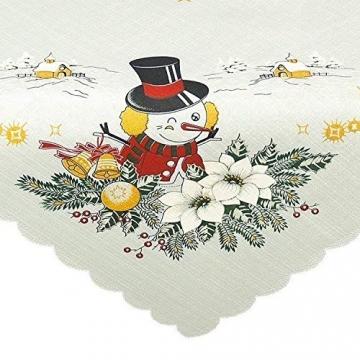 Tischdecke Mitteldecke Merry Christmas, weiße Druckmotivdecke zu Weihnachten, 85x85 cm - 2