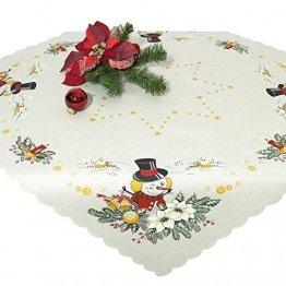 Tischdecke Mitteldecke Merry Christmas, weiße Druckmotivdecke zu Weihnachten, 85x85 cm - 1