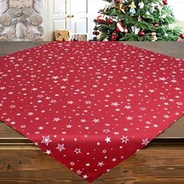 Tischdecke Snow rot, 85x85 cm, Moderne Mitteldecke zu Weihnachten - 1