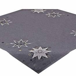 Tischdecke WEIHNACHTSSTERNE grau, 85x85 cm, Moderne Mitteldecke zu Weihnachten - 1