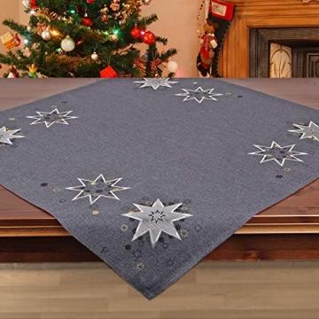 Tischdecke WEIHNACHTSSTERNE grau, 85x85 cm, Moderne Mitteldecke zu Weihnachten - 2