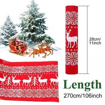 Tischläufer, rot Leinen Weihnachten Tischläufer Tischdecke mit weiss Rentier muster, rutschfeste lang Weihnachtstischdecke Weihnachtsläufer für Tisch Esstische Dekoration 12 x 108 Zoll - 2