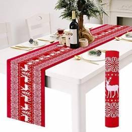 Tischläufer, rot Leinen Weihnachten Tischläufer Tischdecke mit weiss Rentier muster, rutschfeste lang Weihnachtstischdecke Weihnachtsläufer für Tisch Esstische Dekoration 12 x 108 Zoll - 1